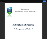 An Introduction to Teaching Techniques and Methods