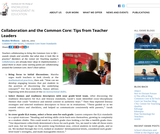 Collaboration and the Common Core: Tips from Teacher Leaders
