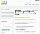 Analyzing Arguments--Rhetorical Analysis (Robbie Pock, Portland Community College