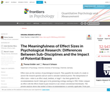 The Meaningfulness of Effect Sizes in Psychological Research: Differences Between Sub-Disciplines and the Impact of Potential Biases