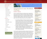 Doing Business in Asia: The Ethical Challenges
