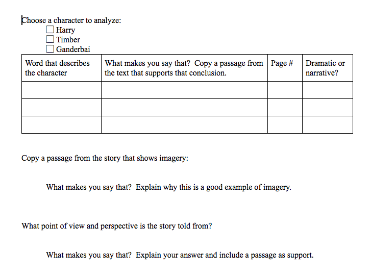 Text Evidence for Analysis