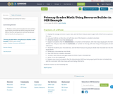 Primary Grades Math:  Using Resource Builder in OER Example