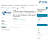 Clinical leadership and management of change