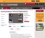 Communicating in Technical Organizations, Spring 2005