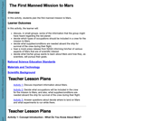 First Manned Mission to Mars