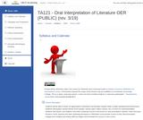 TA 121 - Oral Interpretation of Literature - OER Course