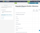 Biographies Magazine Checklist —Elementary