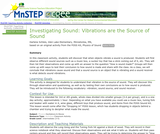 Investigating Sound: Vibrations are the Source of Sound