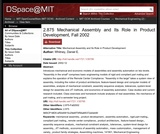 Mechanical Assembly and Its Role in Product Development, Fall 2002