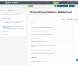 Website Writing Checklist — Middle School