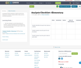 Analysis Checklist—Elementary