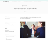 Teach Design : How to Resolve Group Conflicts