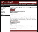 Applied Parallel Computing (SMA 5505), Spring 2003