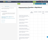 Argumentation Checklist —High School