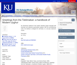 Greetings from the Teklimakan: a handbook of Modern Uyghur