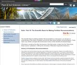 Soils - Part 10: The Scientific Basis for Making Fertilizer Recommendations