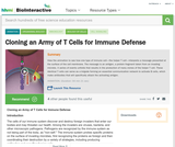 Cloning an Army of T Cells for Immune Defense