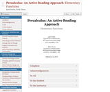 Precalculus: An Active Reading Approach: Elementary Functions