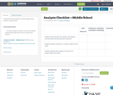 Analysis Checklist —Middle School
