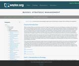 Strategic Management (Business 501)