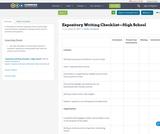 Expository Writing Checklist—High School