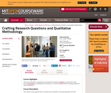 Crafting Research Questions and Qualitative Methodology, Fall 2005
