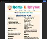 Romp & Rhyme Storytime Lesson Plan: Pick Me! Pick Me!