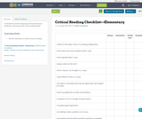 Critical Reading Checklist—Elementary