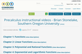 Precalculus instructional videos - Brian Stonelake, Southern Oregon University