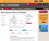 Optical Signals, Devices, and Systems, Spring 2003