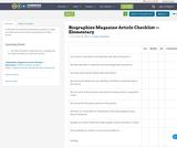 Biographies Magazine Article Checklist — Elementary
