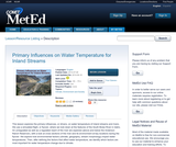 Primary Influences on Water Temperature for Inland Streams