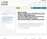 ESL for High Beginning Students: The Way You Like It: Basic High-Beginning Grammar/Writing: Part Two (of Two), Plus Two-Word Verbs, Some Punctuation Rules, and Pronunciation