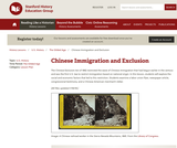 Reading Like a Historian: Chinese Immigration and Exclusion