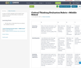 Critical Thinking Evaluation Rubric —Middle School