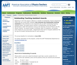 AAPT Outstanding Teaching Assistant Awards