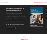 Library 160: Introduction to College-Level Research