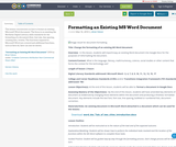 Formatting an Existing MS Word Document