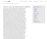 CMA 112 - Basic Law & Ethical Issues in Healthcare