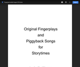 Original Fingerplays and Piggyback Songs for Storytimes