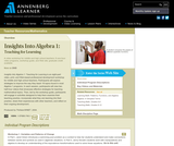 Insights Into Algebra 1: Teaching for Learning