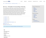 BA 211 - Principles of Accounting: Financial
