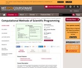 Computational Methods of Scientific Programming, Fall 2011