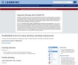 Trashketball Review for Ratios, Fractions, Decimals and Percents.