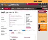 Java Preparation for 6.170, January (IAP) 2006