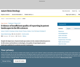 Evidence of insufficient quality of reporting in patent landscapes in the life sciences