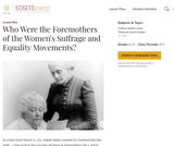 Who Were the Foremothers of the Women's Suffrage and Equality Movements?