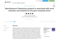 Releasing a preprint is associated with more attention and citations for the peer-reviewed article
