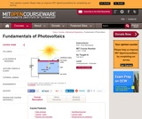 Fundamentals of Photovoltaics, Fall 2013